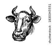 cow head illustration. farm... | Shutterstock .eps vector #1830345551
