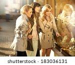 three pretty girlfriends...   Shutterstock . vector #183036131