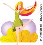 Happy Girl Dancer. Smiling...