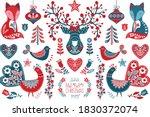 christmas scandinavian folk art ... | Shutterstock .eps vector #1830372074