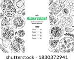 italian food. top view. sketch... | Shutterstock .eps vector #1830372941