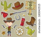 cute cowboy with wild west...   Shutterstock .eps vector #183042515
