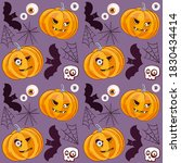pumpkins with eyes. halloween. ... | Shutterstock . vector #1830434414