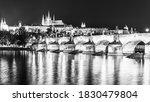 Prague Night Panorama. Prague...