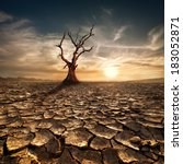global warming concept. lonely... | Shutterstock . vector #183052871
