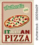 authentic italian pizza vintage ... | Shutterstock .eps vector #183056609