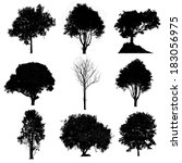 set of silhouettes of trees | Shutterstock . vector #183056975
