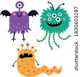 funny and cute monsters. vector ... | Shutterstock .eps vector #1830603287