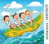 joyful kids ride on a banana... | Shutterstock .eps vector #183070079