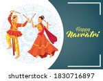happy navratri celebration with ...   Shutterstock .eps vector #1830716897