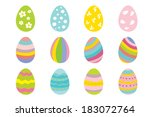 Set Of 12 Color Easter Eggs.