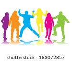 dancing silhouettes people . | Shutterstock .eps vector #183072857