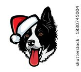 border collie dog with santa... | Shutterstock .eps vector #1830745004