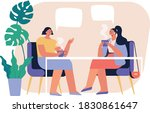 two young women drinking tea or ...   Shutterstock .eps vector #1830861647