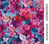 seamless flower pattern with...   Shutterstock .eps vector #1830865001
