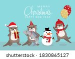 cute otter in red costume for... | Shutterstock .eps vector #1830865127