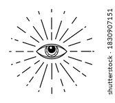 human world eye with rays.... | Shutterstock .eps vector #1830907151