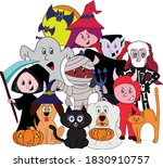 the gang get together to have... | Shutterstock .eps vector #1830910757