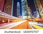 city road tunnels light trails...   Shutterstock . vector #183093707