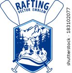 Vector Rafting Emblem Labels