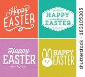 happy easter vector set | Shutterstock .eps vector #183105305