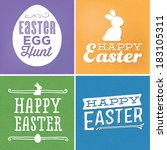 happy easter vector set   Shutterstock .eps vector #183105311