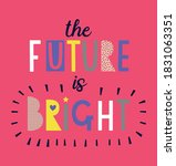 the future is bright. girl... | Shutterstock .eps vector #1831063351