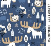 seamless childish forest... | Shutterstock .eps vector #1831156957