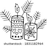 Two Candles And Branches Of A...