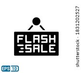 flash sale sign icon in glyph...