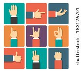 hand gestures icons set vector...