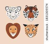 Set Of Jungle Animal Portrait...
