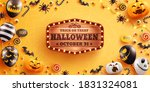 halloween background with cute... | Shutterstock .eps vector #1831324081