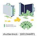 briefcase with dollar bills in...   Shutterstock .eps vector #1831366891