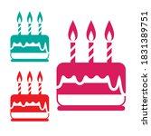 birthday cake icon  pink  blue...   Shutterstock .eps vector #1831389751