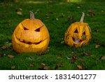 Two Pumpkins Jack Lantern On...
