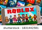 Small photo of Roblox at notebook screen, Sao Paulo, Brazil, 11/10/2020. Roblox is a multiplayer online video game and game creation system that allows users to design their own games