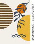 burnt orange sun print boho... | Shutterstock .eps vector #1831492414