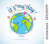 Cute Cartoon Earth Globe...