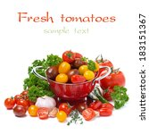 assorted cherry tomatoes ... | Shutterstock . vector #183151367