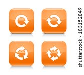 4 arrow orange icon. white...
