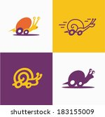 fast snail set | Shutterstock .eps vector #183155009