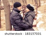 happy young couple in winter... | Shutterstock . vector #183157031