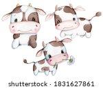 Cute Cartoon Set Of Baby Cow ...