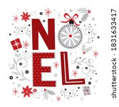Noel Letter With Red And White...