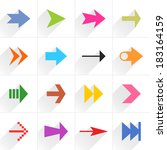 16 arrow flat icon with long...
