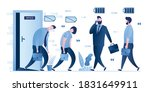 two tired employees goes at...   Shutterstock .eps vector #1831649911