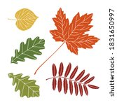 set of autumn leaves. includes... | Shutterstock .eps vector #1831650997