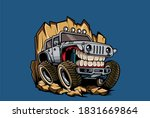 Jeep Illustration With Funny...