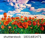 Oil Painting.red Poppy Field....